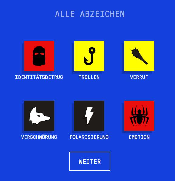 Abzeichen im Online-Spiel getbadnews