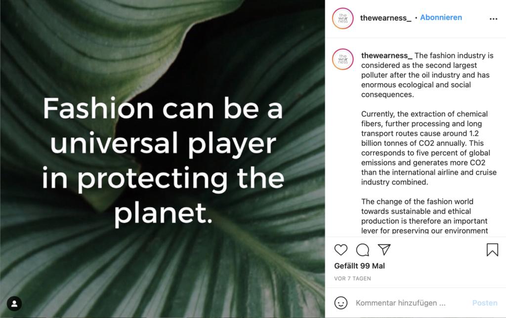 W&V Green Marketing Day - The Wearness Instagram