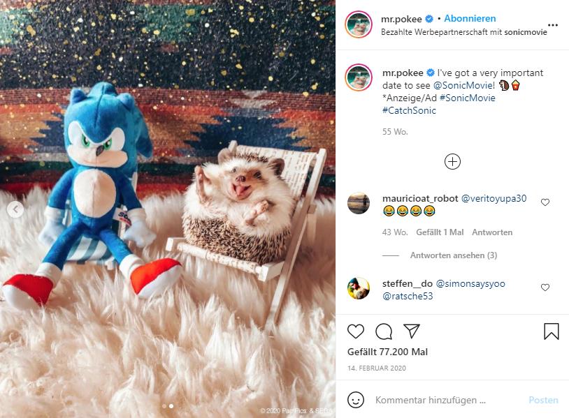 Werblicher Post von Petfluencer mr.pokee. Instagram-Hunde, -Katz und co. sorgen für Interaktion.