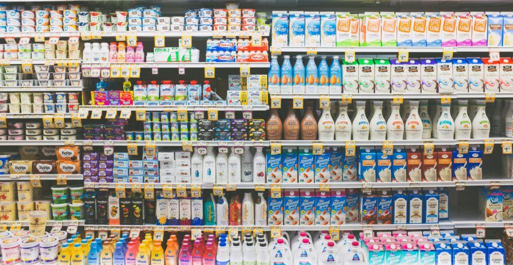 Regal im Supermarkt inkl. Produkten mit Health Claims