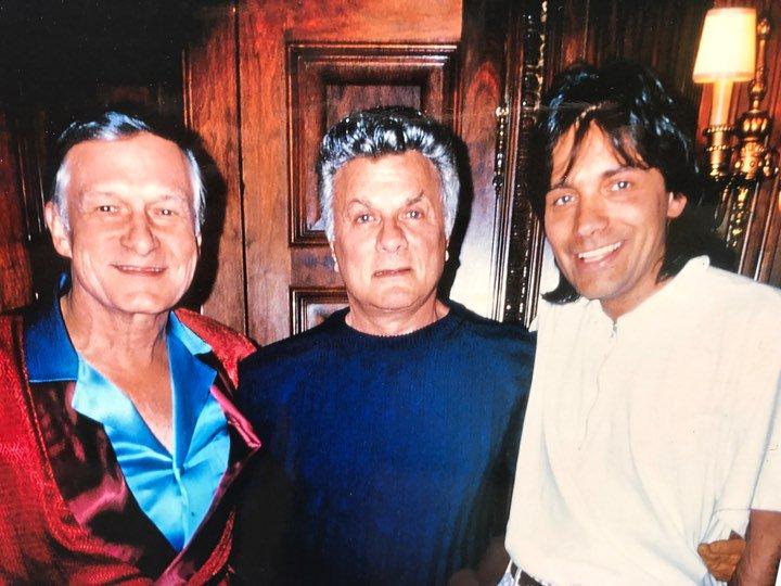 David Rienau mit Hugh Hefner und Tony Curtis