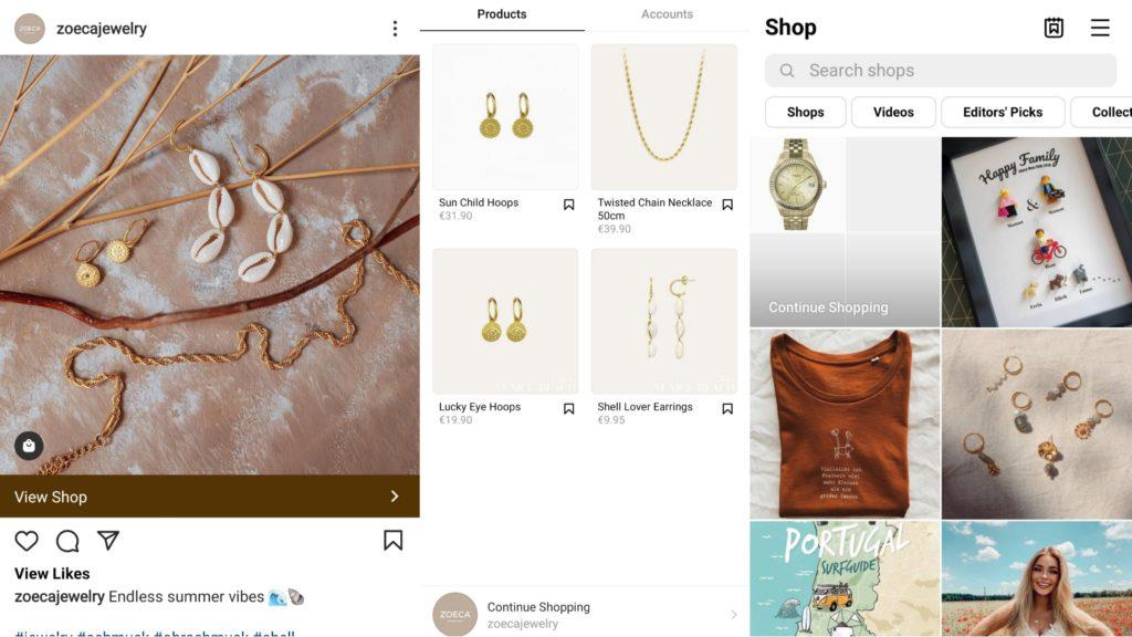 Beispielauschnitte Instagram Werbeanzeigen, Instagram Shopping